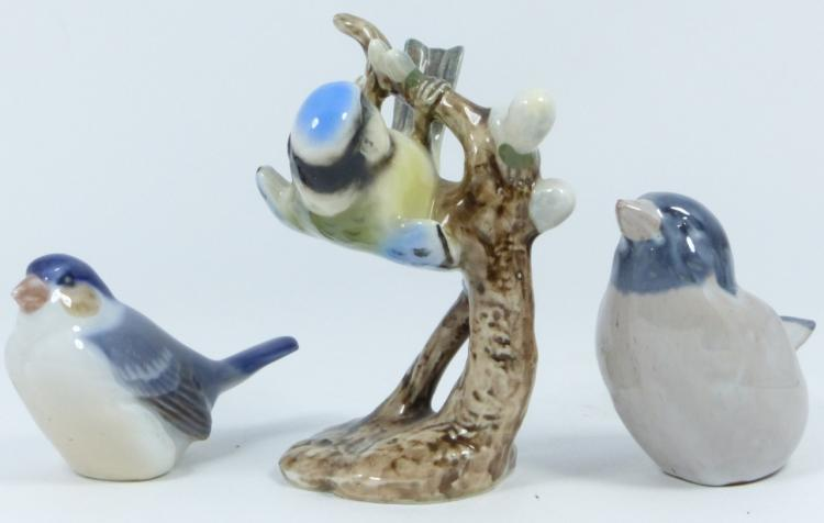 3pc PORCELAIN BIRD FIGURINES COPENHAGEN GOEBEL