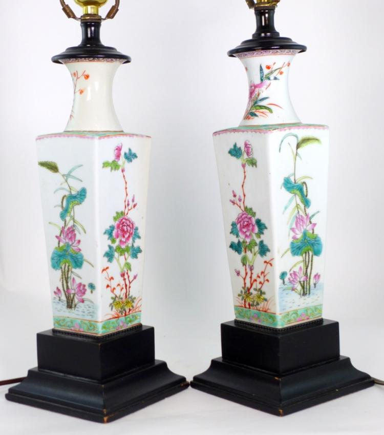 Pr chinese famille rose porcelain vases lamps for Asian antiques west palm beach