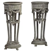 Pair of Louis XVI Painted Wood Jardinière Stands