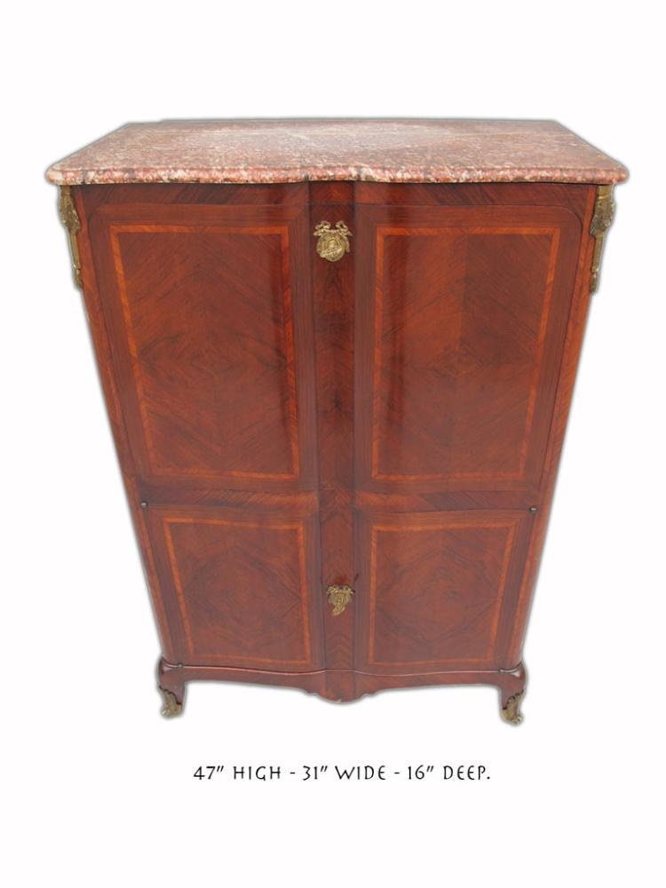 French Louis Xv Style Marble Top Bar Cabinet