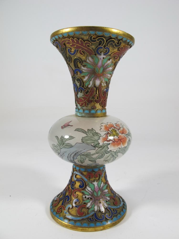 Antique chinese cloisonne gu shape bronze glass vase for Asian antiques uk
