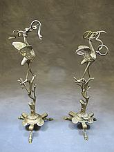Pair of bronze birds sculptures