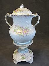 Antique English ceramic urn with pedestal
