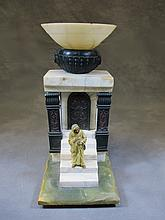 Orientalist alabaster, onyx and spelter lamp