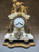 Antique French Marti bronze & marble clock
