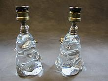 Pair of Baccarat glass lamps, signed