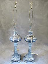 Old pair of metal & glass table lamps
