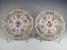 German Dresden pair of porcelain plates