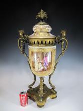 Amazing huge French Sevres bronze & porcelain urn