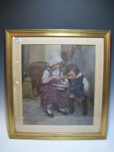 Antique English gouache painting, circa 1900