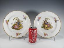 Antique German Meissen pair of porcelain plates