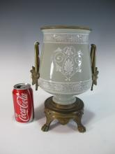 Antique gilt bronze celadon Pate-sur-Pate urn