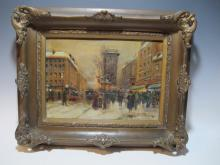 Antique French oil on board painting, circa 1940