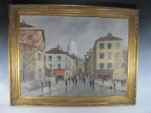 Antique European oil on canvas painting, circa 1940