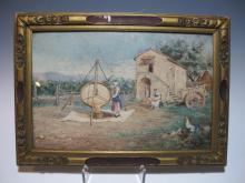 Antique Italian signed watercolor, circa 1900