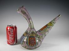 1890 Spanish glass enamel wine bottle