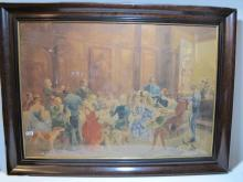 19th C German watercolor painting, signed