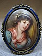 Antique bronze enamel & porcelain plaque