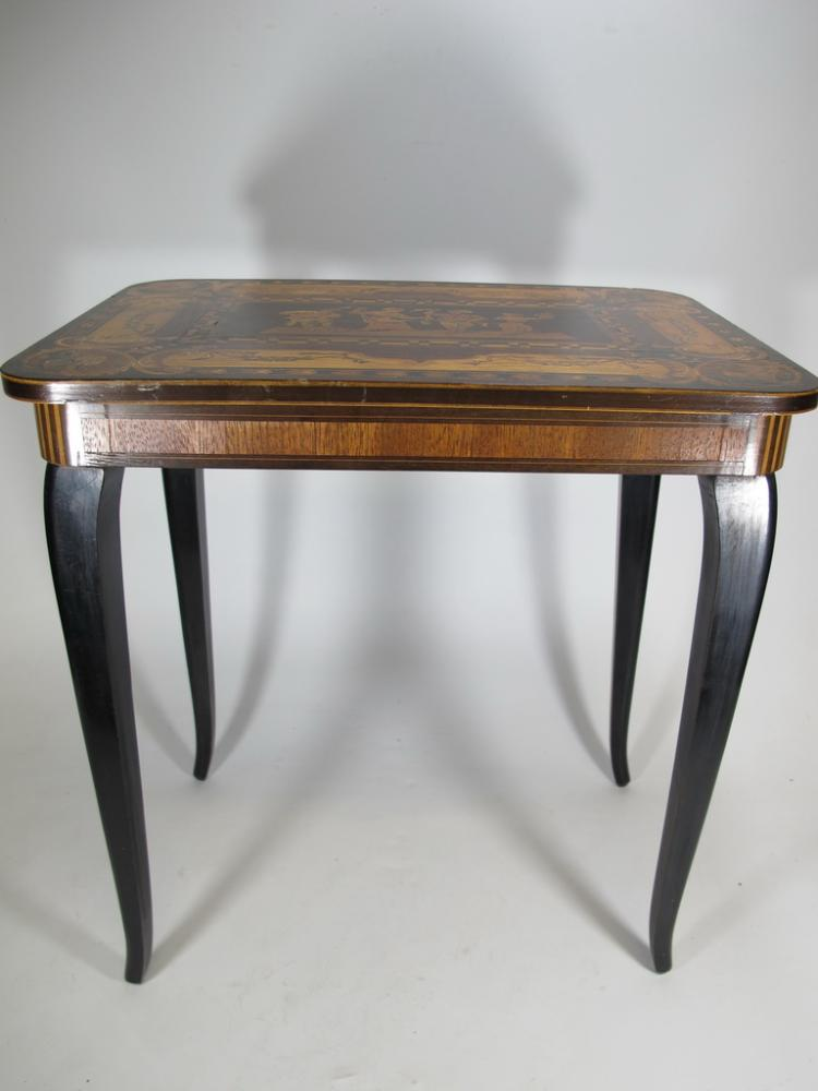 Vintage french wood inlaid music box table for Table 6 song