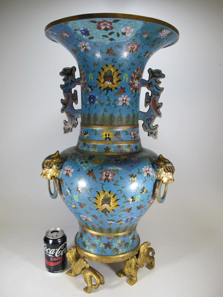 Antique huge chinese cloisonne vase for Asian antiques uk