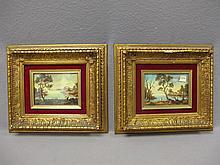 Old pair of oil on board paintings, Montanier