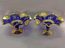 Pair of Czechoslovakian art glass centerpieces