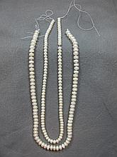 Pair of pearls necklaces, 6 & 4 mm, 17
