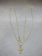 Cross & chain, 14 k yellow gold, 8 grams