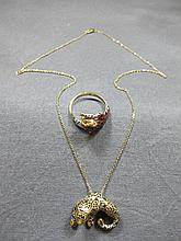 Necklace & ring, 14 k gold & enamel, 8 grams