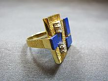 Ring, 18 k gold, lapislazuli & diamond, 18 grams