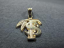 TS pendant, 14 k yellow gold, 1 gram