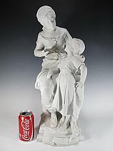 Auguste MOREAU (1834-1917) La Grande Soeur biscuit statue