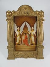 Masonic brass frame with unusual hand painted on wood