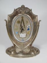 Rare Waltham masonic silver clock, circa 1900