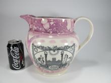 19th C. English Sunderland Luster Masonic jug