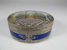Antique Masonic sterling & enamel pill box