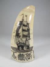 19th C Masonic etched whale?s tooth, signed