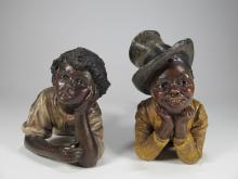 Antique terracotta black boy & girl statues