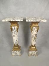 Antique pair of French gilt bronze & marble pedestals