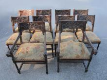 Antique European carved wood 10 chairs set
