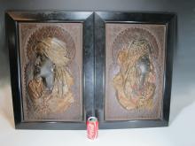 Huge pair of Antique Orientalist cast iron plaques