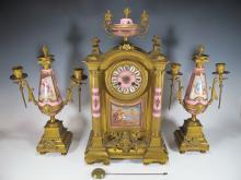 Antique French Sevres porcelain & bronze clock set
