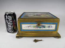 Antique Sevres bronze & porcelain jewelry box