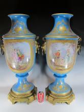 Large pair 19th C French Sevres style bronze & porcelain urns
