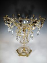 Probably Baccarat crystal & bronze candelabra centerpiece