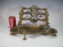 Antique bronze champleve & porcelain inkwell