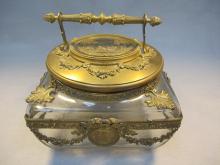 Antique French gilt bronze & glass box