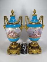 Antique French Sevres pair of bronze & porcelain urns