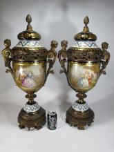 Antique French Sevres pair of Ormolu-Mounted urns