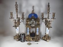 Amazing French Marti silverplated bronze clock set